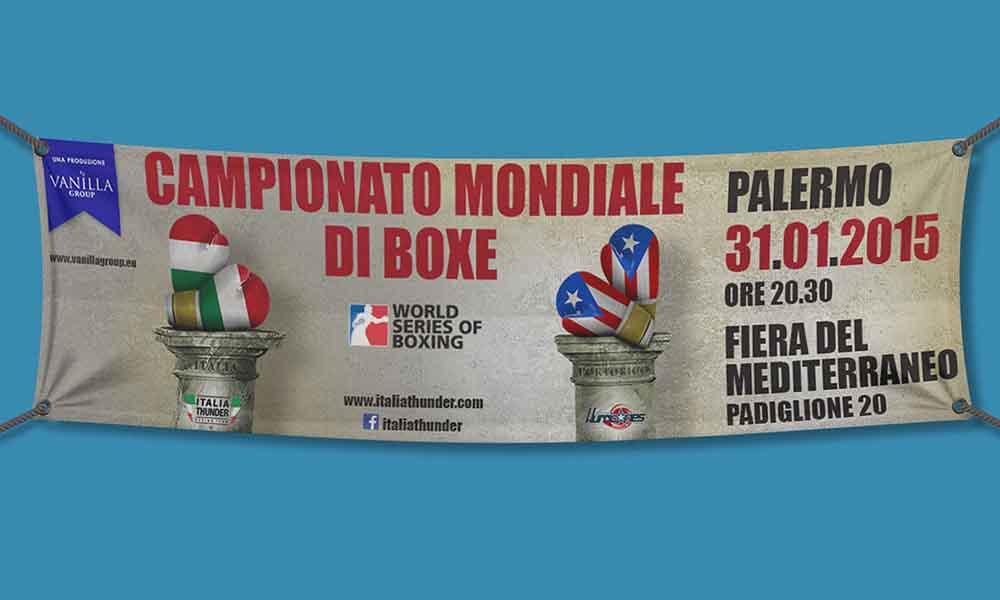 Banner per interni Campionato Mondiale di Boxe, Palermo 2015