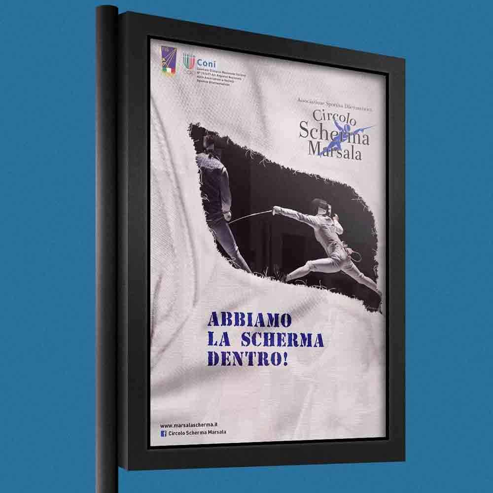 Billboard Circolo Scherma Marsala, campagna abbiamo la Scherma dentro, Palermo 2013