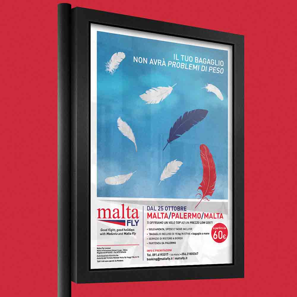 Billboard Malta Fly, campagna multi soggetto Il piacere di volare, Palermo 2014