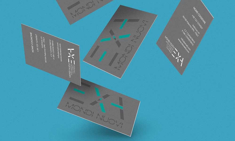 Biglietti da visita Exa Mondi Nuovi, associazione culturale, Palermo 2014