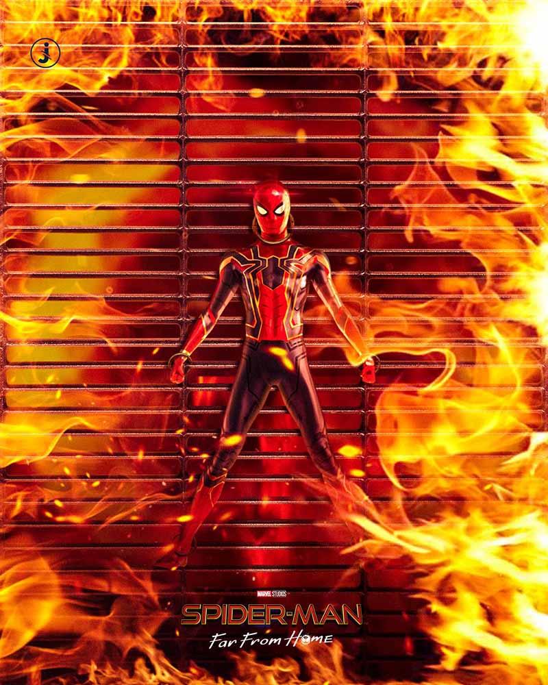 Fotomontaggio, Spider-Man fuoco