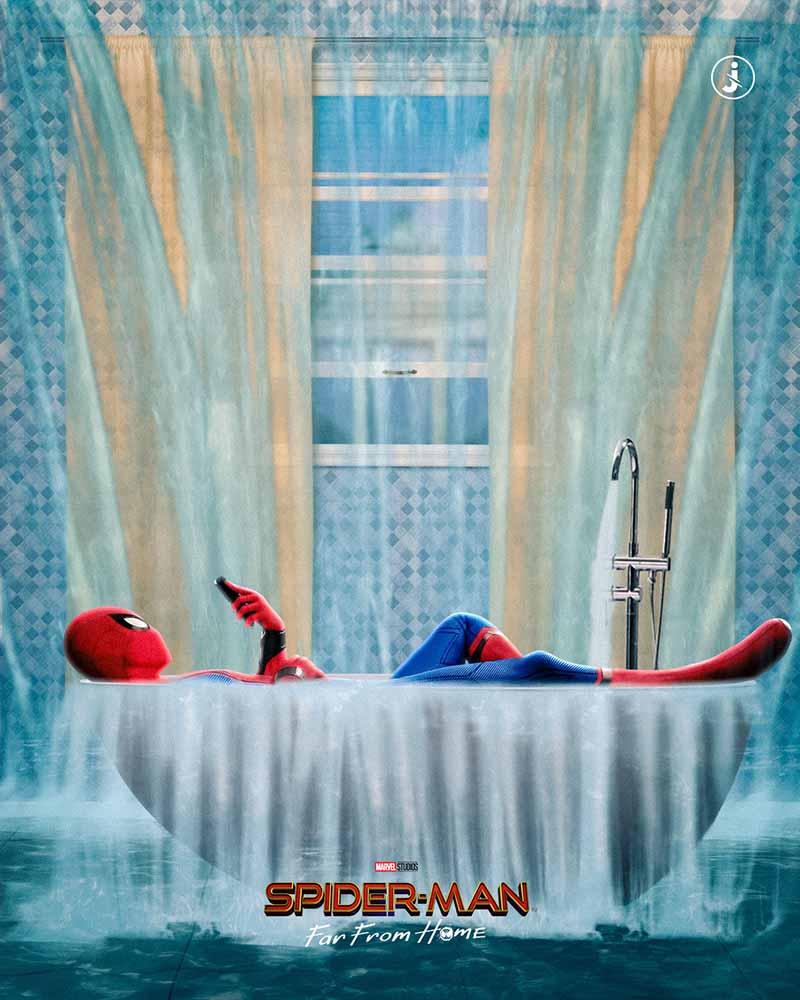 Fotomontaggio, Spider-Man acqua