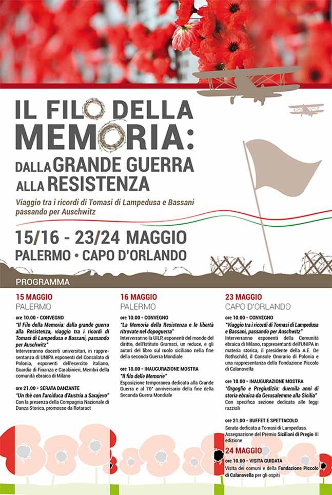Poster Il Filo della Memoria, mostra/convegno, Palermo 2014