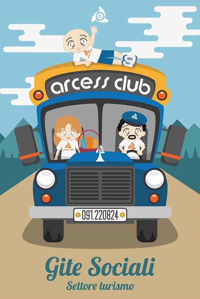 Poster Arcess Club, gite sociali, Palermo 2017