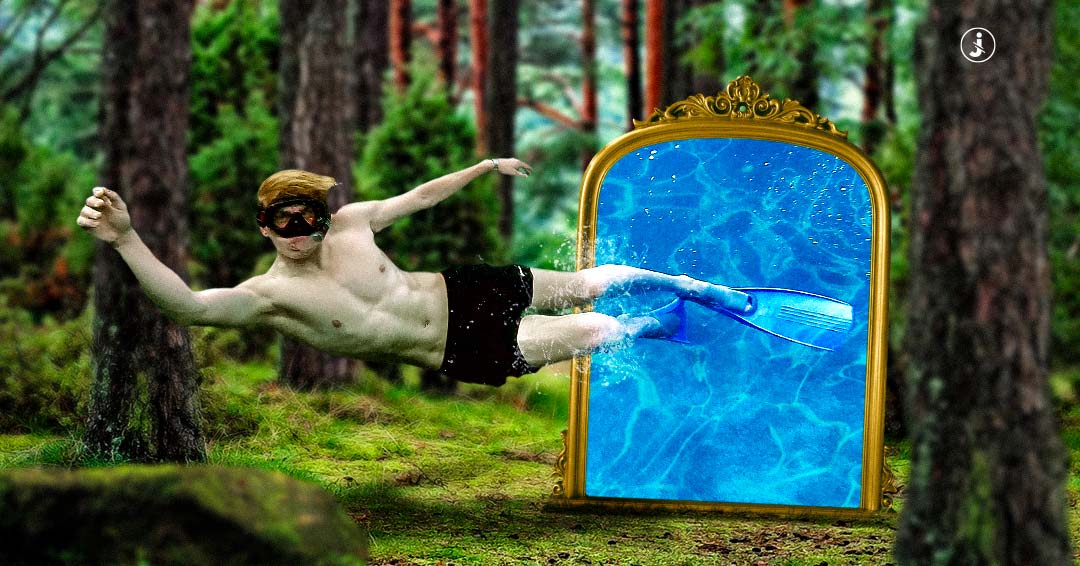 Fotomontaggio, Mirror into the woods