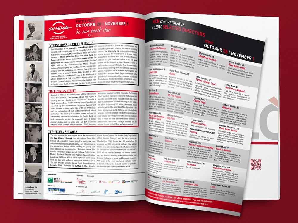 Doppia pagina pubblicitaria Festival Internazionale del Film di Roma, Screen International, Roma 2010