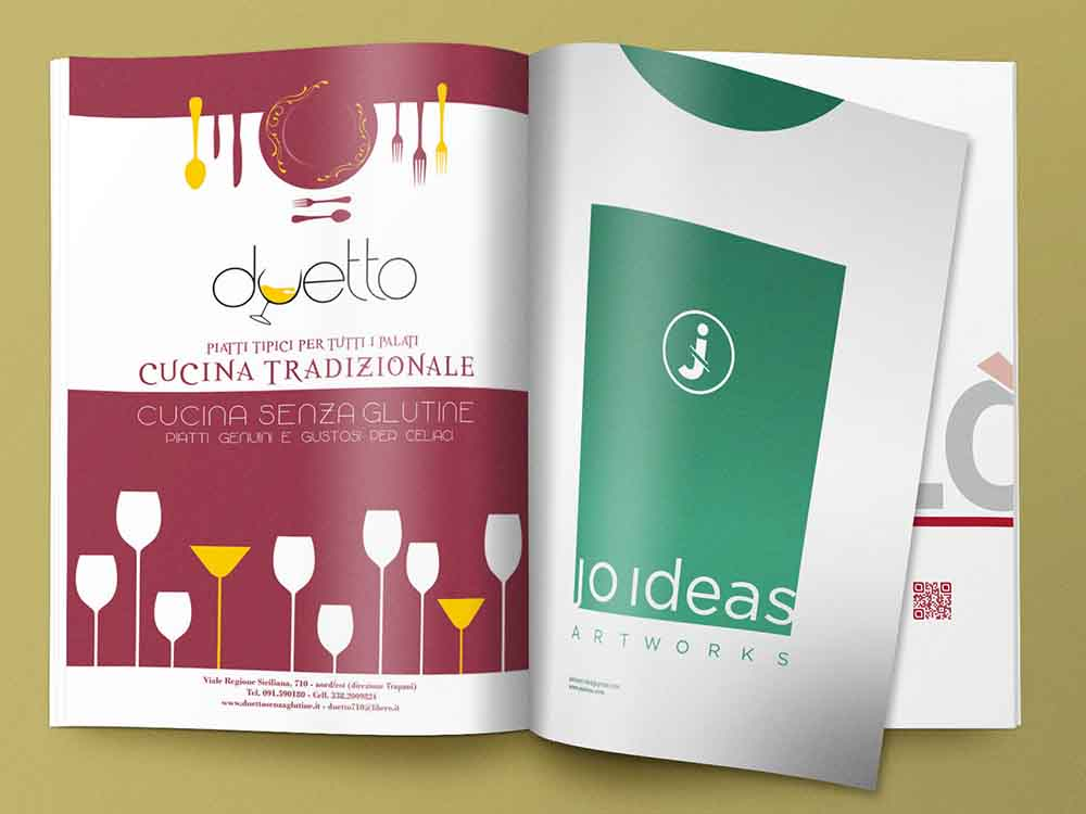 Pagina pubblicitaria Duetto, ristorante cucina tradizionale e senza glutine, Palermo 2013