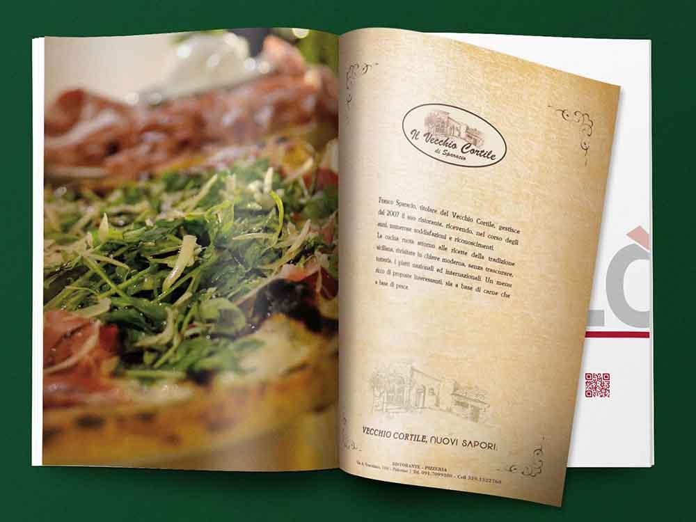 Doppia pagina pubblicitaria ristorante Il Vecchio Cortile, Palermo 2014