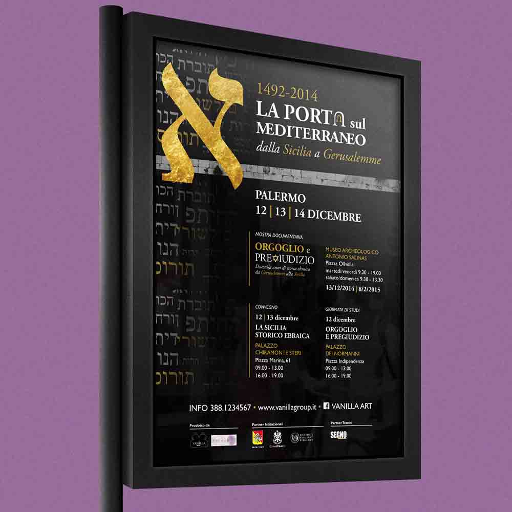 Billboard La Porta sul Mediterraneo, mostra documentaria/convegno, Palermo 2014