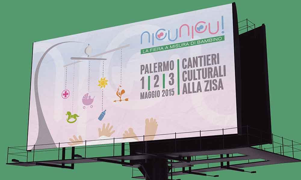 Billboard NicuNicu!, campagna fiera articoli per l'infanzia, Palermo, 2014
