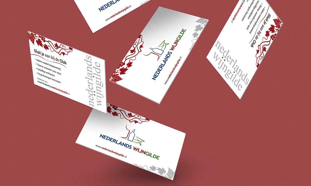 Biglietti da visita Nederlands wijngilde, associazione degustazione vini, Belgio 2015