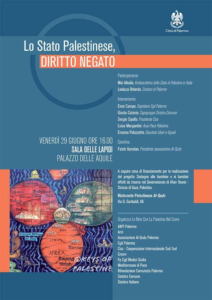 Poster evento Lo Stato Palestinese, Diritto negato, Palermo 2019