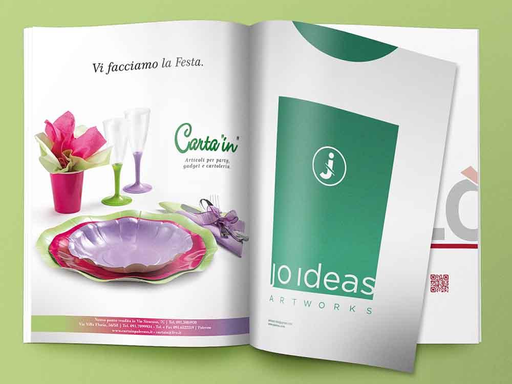 """Pagina pubblicitaria Carta """"In"""", articoli per pary, gadget e cartoleria, Palermo 2013"""