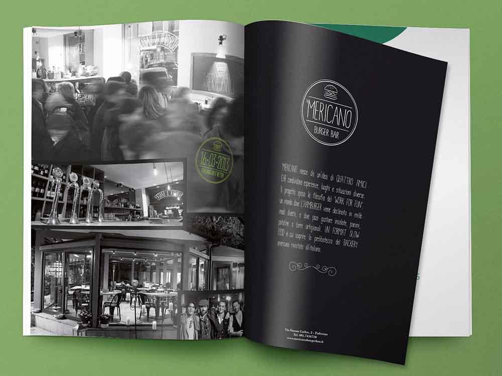 Doppia pagina pubblicitaria Burger Bar 'Mericano, Palermo 2013