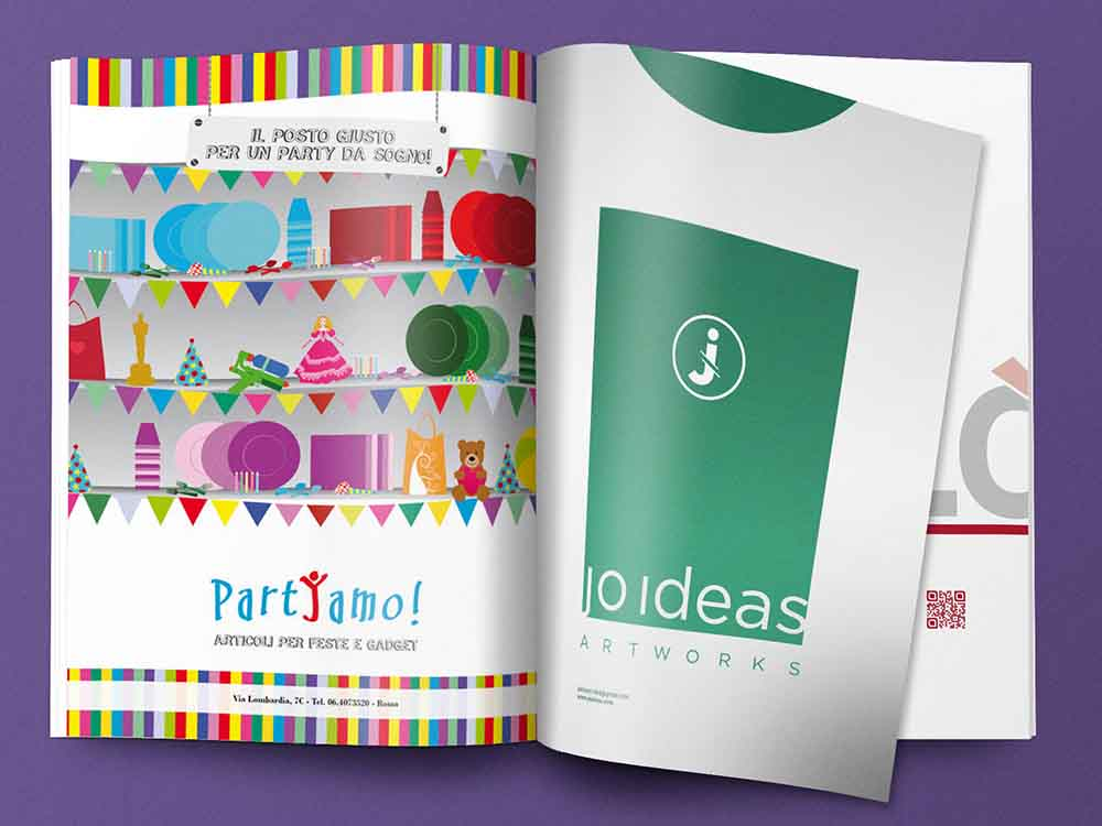 Pagina pubblicitaria Partyamo, articoli per feste, Palermo 2014