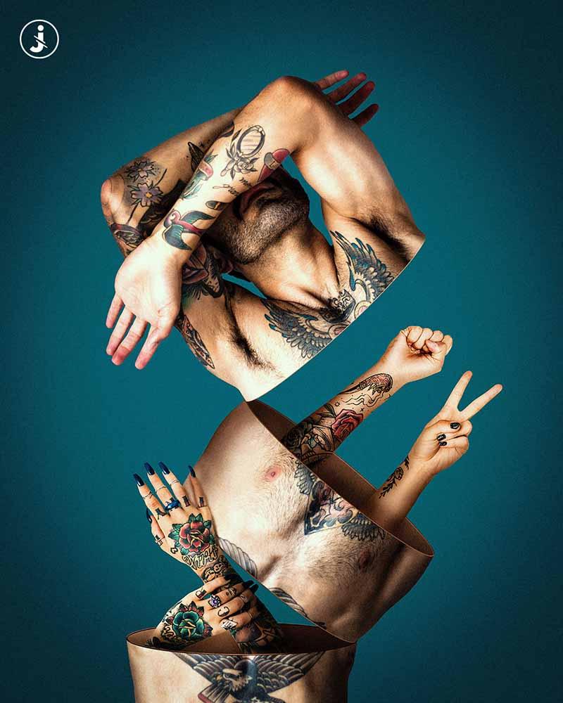 Fotomontaggio, Tatuaggi